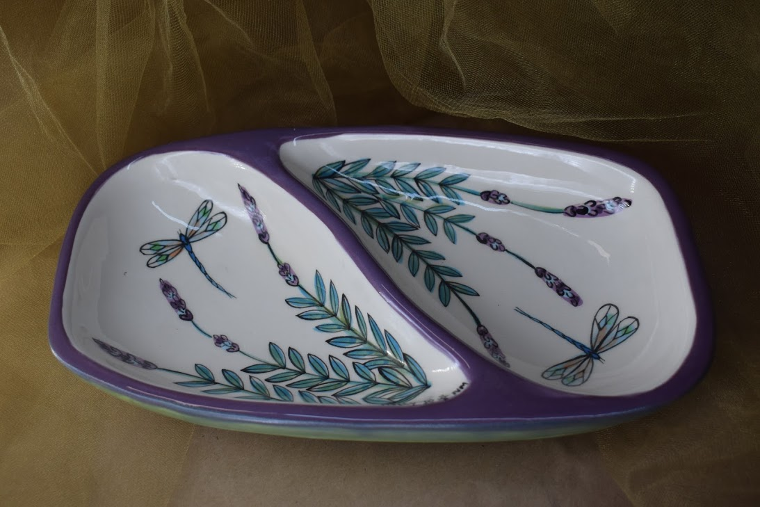 (GD11-WLD) Garnish Dish- White Lavender with Dragonfly