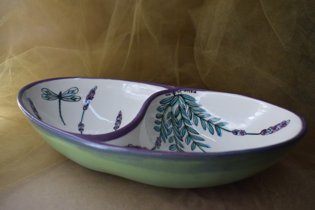 (ODB11-WLD) Oval Divided Bowl- White Lavender with Dragonfly