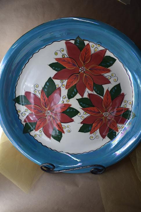 "(LB75-PTC) 15"" Paella Bowl- Poinsettia"