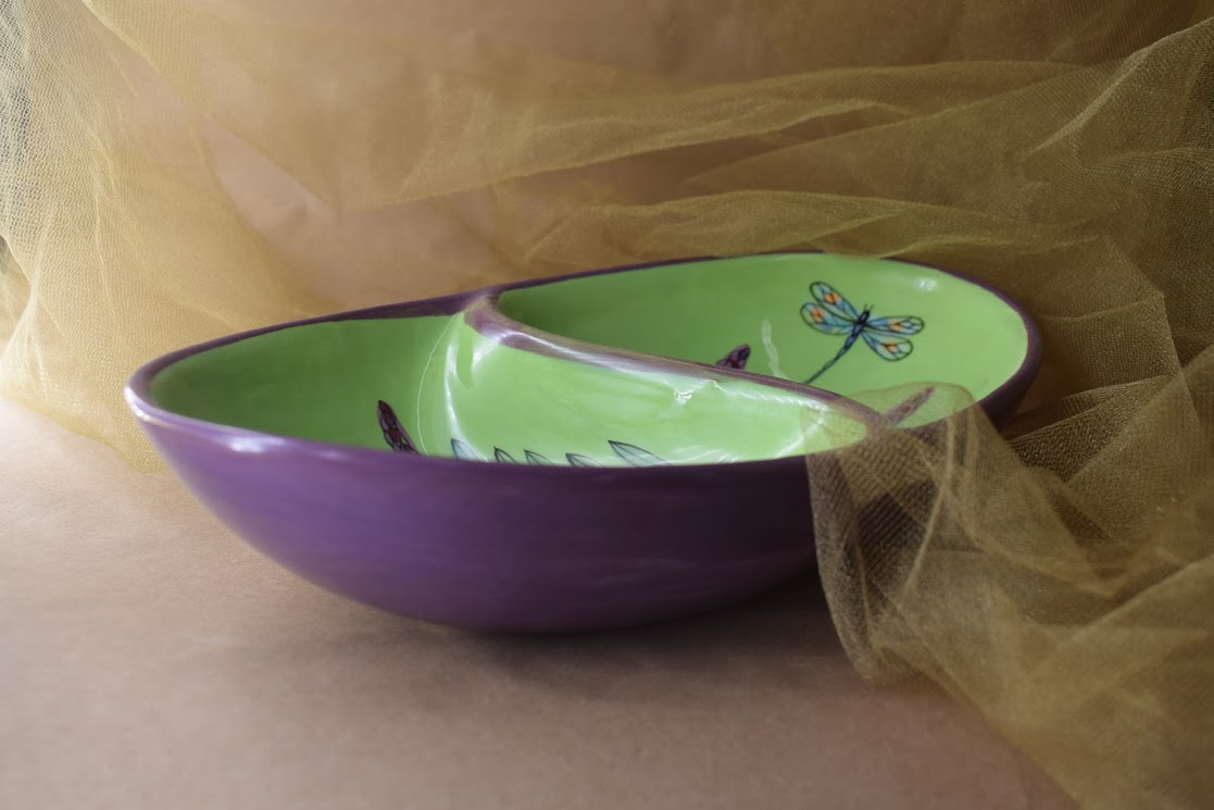 (GD11-GLD) Garnish Dish- Green Lavender with Dragonfly