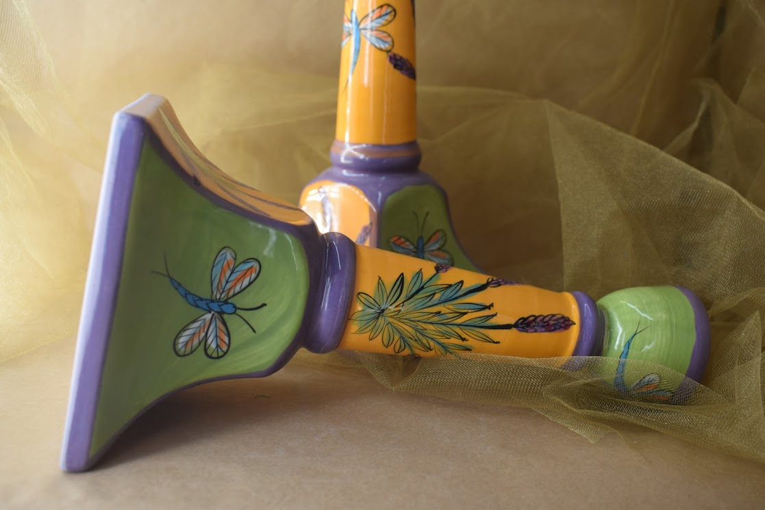 (CS23-YLD) Tall Candlestick- Yellow Lavender with Dragonfly