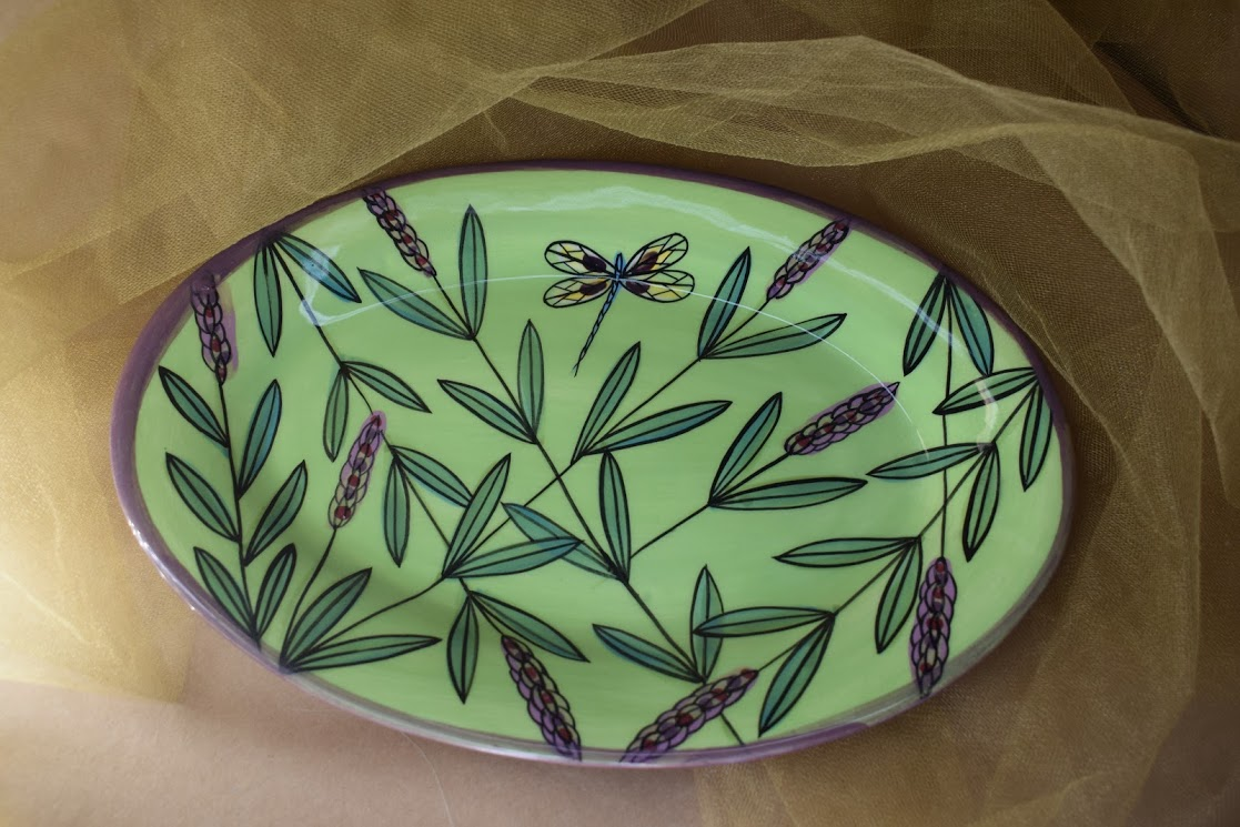 """(OP16-GLD) 12""""x8"""" Oval Platter- Green Lavender with Dragonfly"""