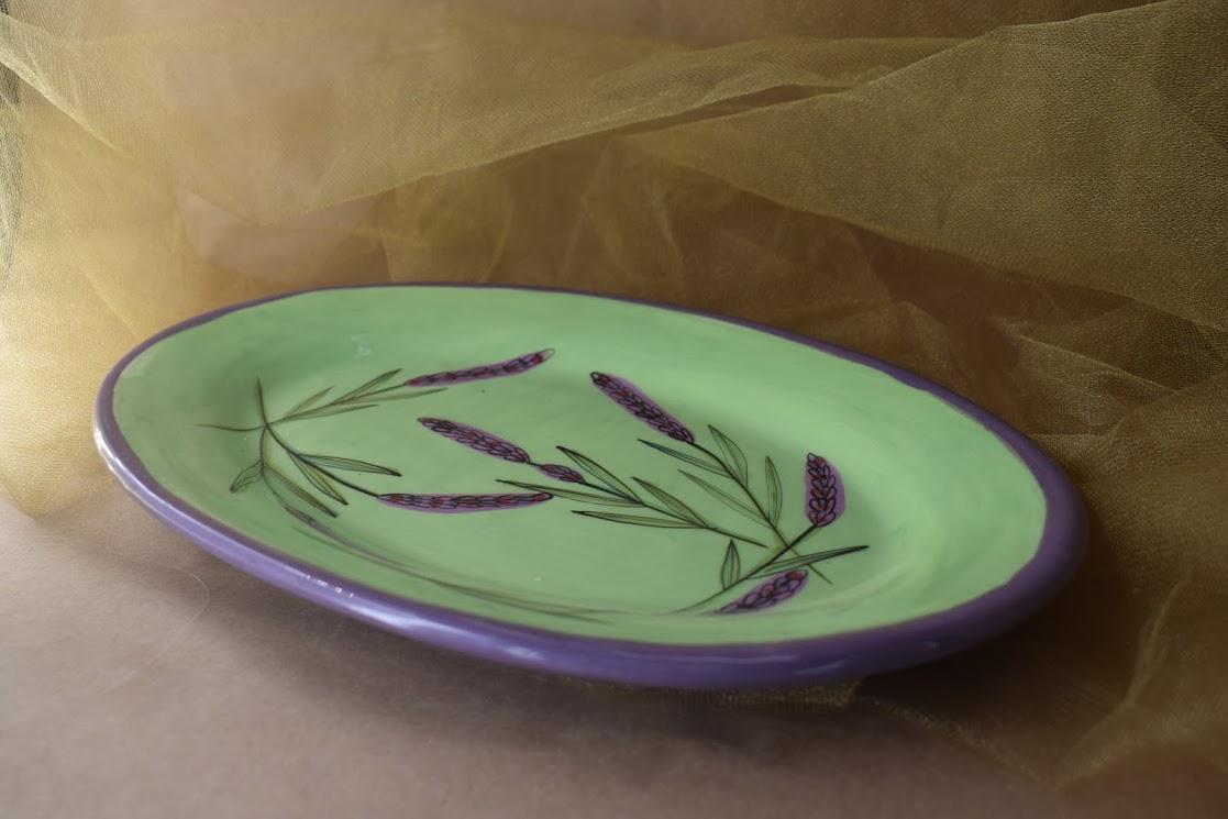"(OP16-GL) 12""x8"" Oval Platter- Green Lavender"