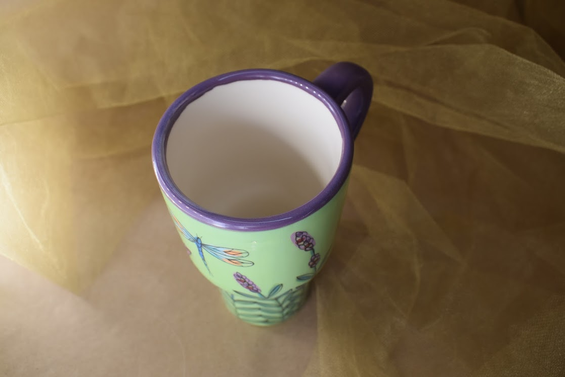(TM08-GLD) Tall Mug- Green Lavender with Dragonfly
