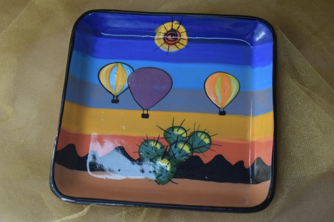 "(SP08-BB) 6"" Square Plate- Blue Balloon"