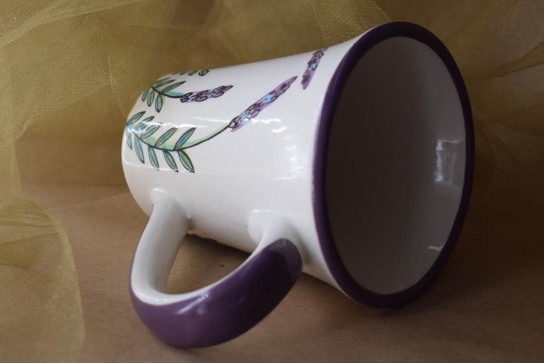 (FM02-WLD) Fancy Mug- White Lavender with Dragonfly