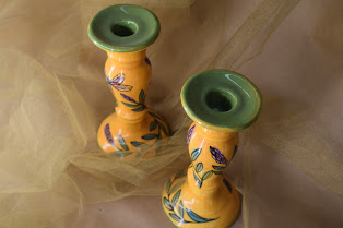 "(CS21-YLD) 7"" Standard Candlesticks- Yellow Lavender with Dragonfly"