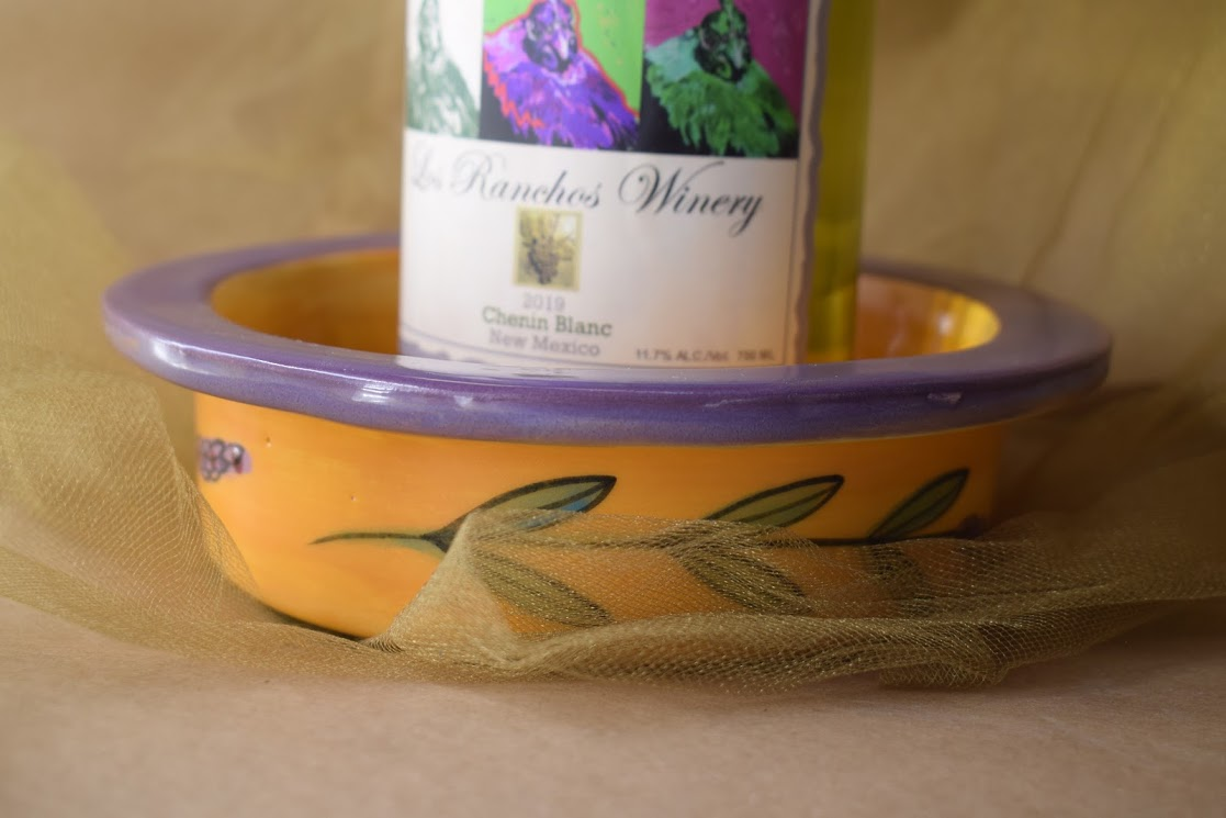 (WC09-YLD) Wine Coaster- Yellow Lavender with Dragonfly