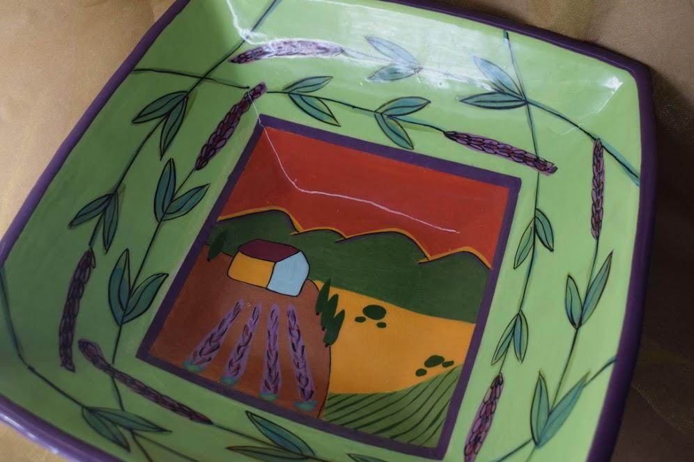 "(SB35-GLS) 14"" Sq. Pyramid Bowl- Green Lavender Scene"