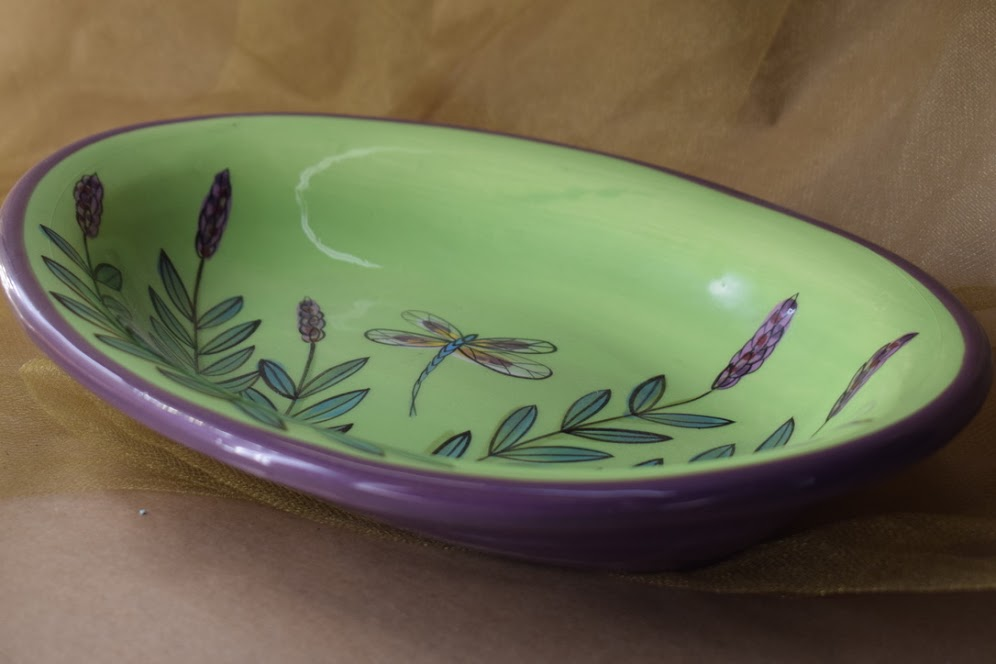 """(CP20-GLD) 10"""" Oval Casserole- Green Lavender with Dragonfly"""