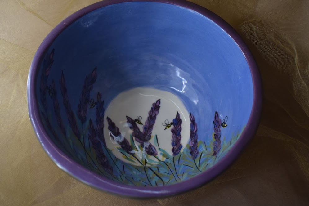 """(MB25-LM) 9"""" Footed Bowl- Lavender Moon"""
