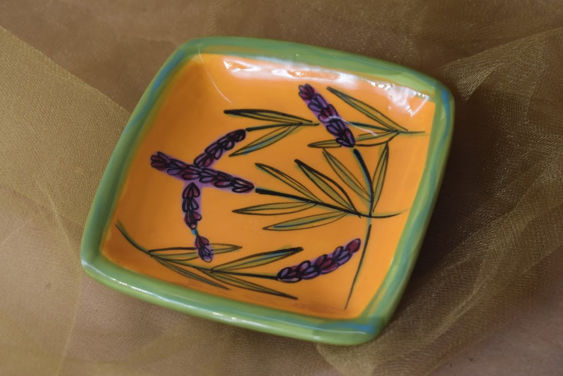 """(SP07-YL) 5"""" Square Plate- Yellow Lavender"""