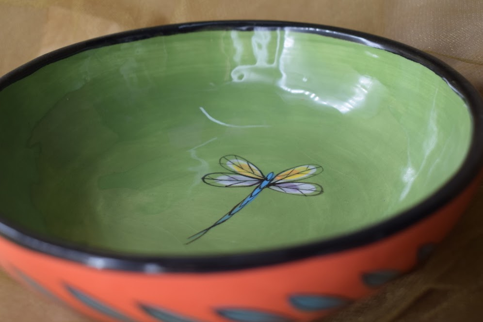 """(CB11-RLD) 7"""" Cereal Bowl- Red Lavender with Dragonfly"""