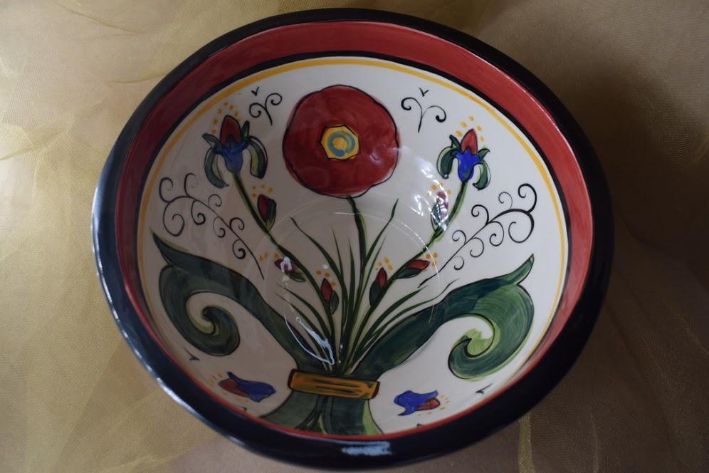"(MB25-M-VR) 9"" Footed Bowl- Metallic- Venetian Red"