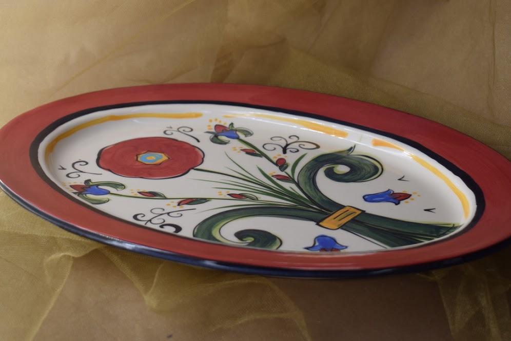 "(OP15-RIM-VR) 15"" Oval Platter with Rim- Venetian Red"