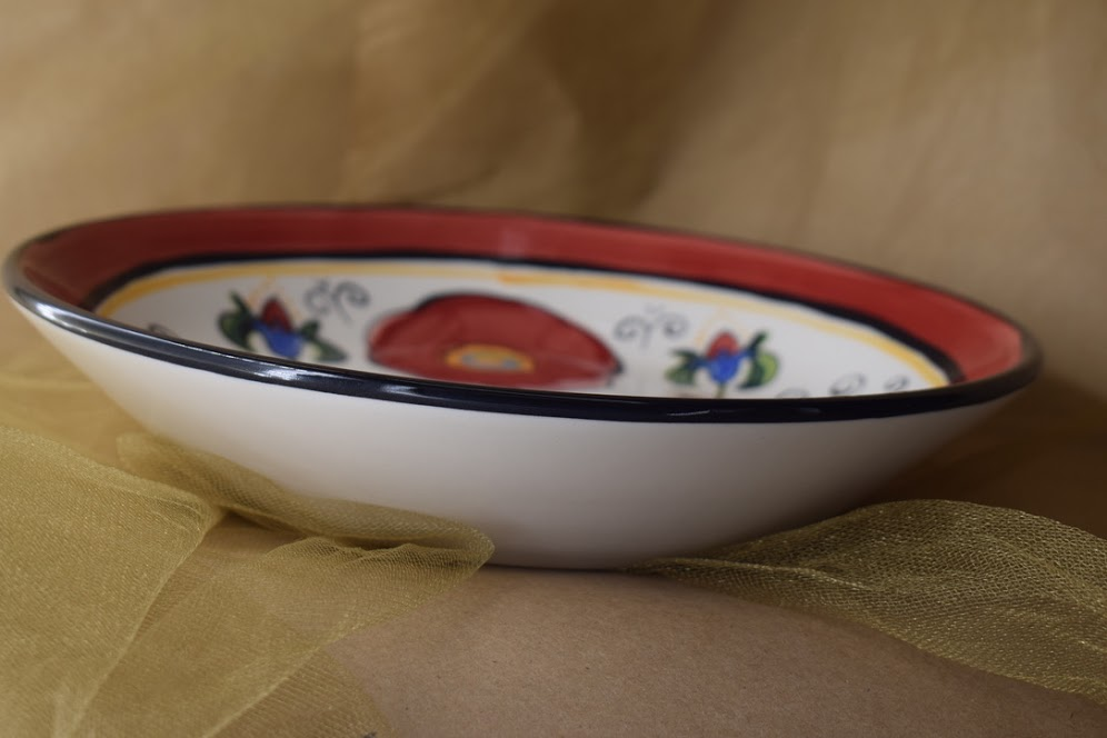 "(BI-MB10-VR) 10"" Shallow Serving Bowl- Venetian Red"