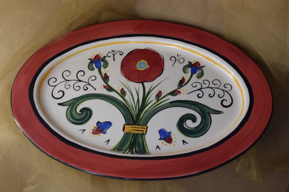 "(OP15-RIM-H-VR) 15"" Oval Platter with Rim and Horizontal Pattern- Venetian Red"
