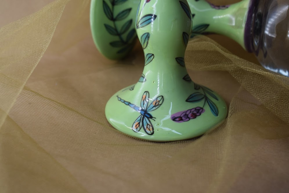 (GS10-GLD) Wine Stem- Green Lavender with Dragonfly