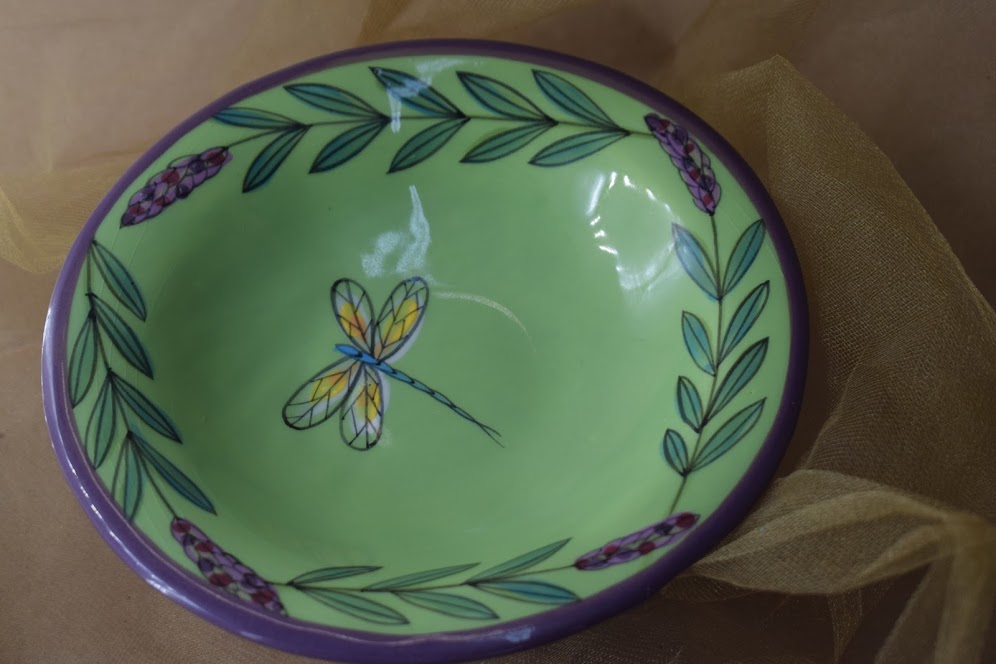 (CM07-GLD) Small Compote- Green Lavender with Dragonfly