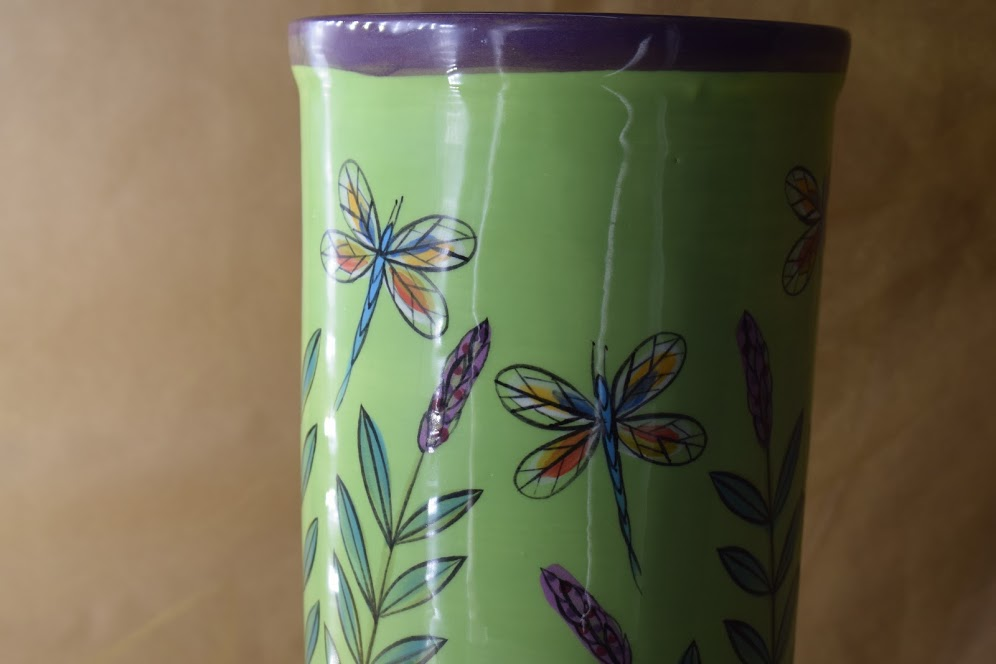 """(WS10-GLD) 10"""" Wine Sleeve- Green Lavender with Dragonfly"""