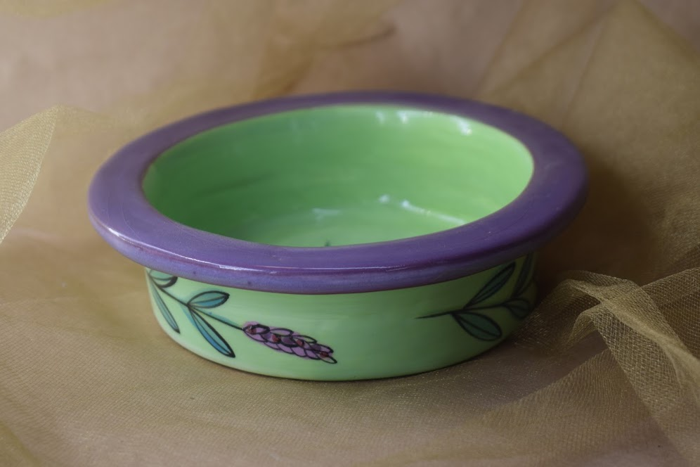 (WC09-GLD) Wine Coaster- Green Lavender with Dragonfly