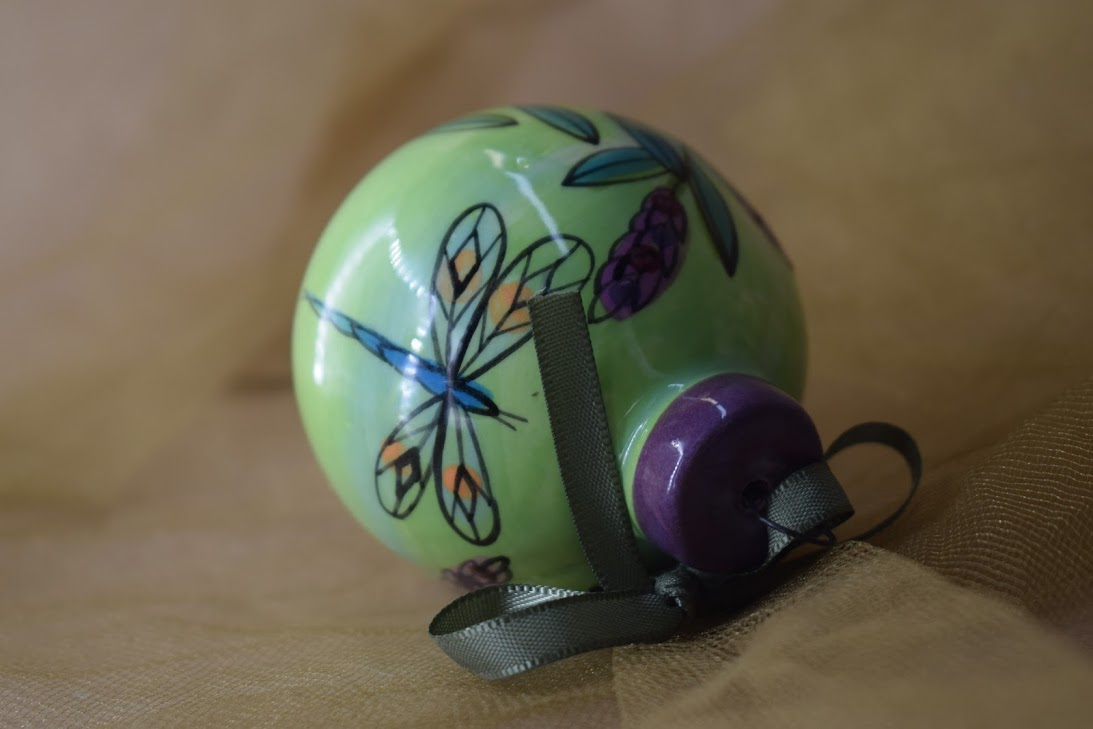 (Ornament-GLD) Ornament- Green Lavender with Dragonfly