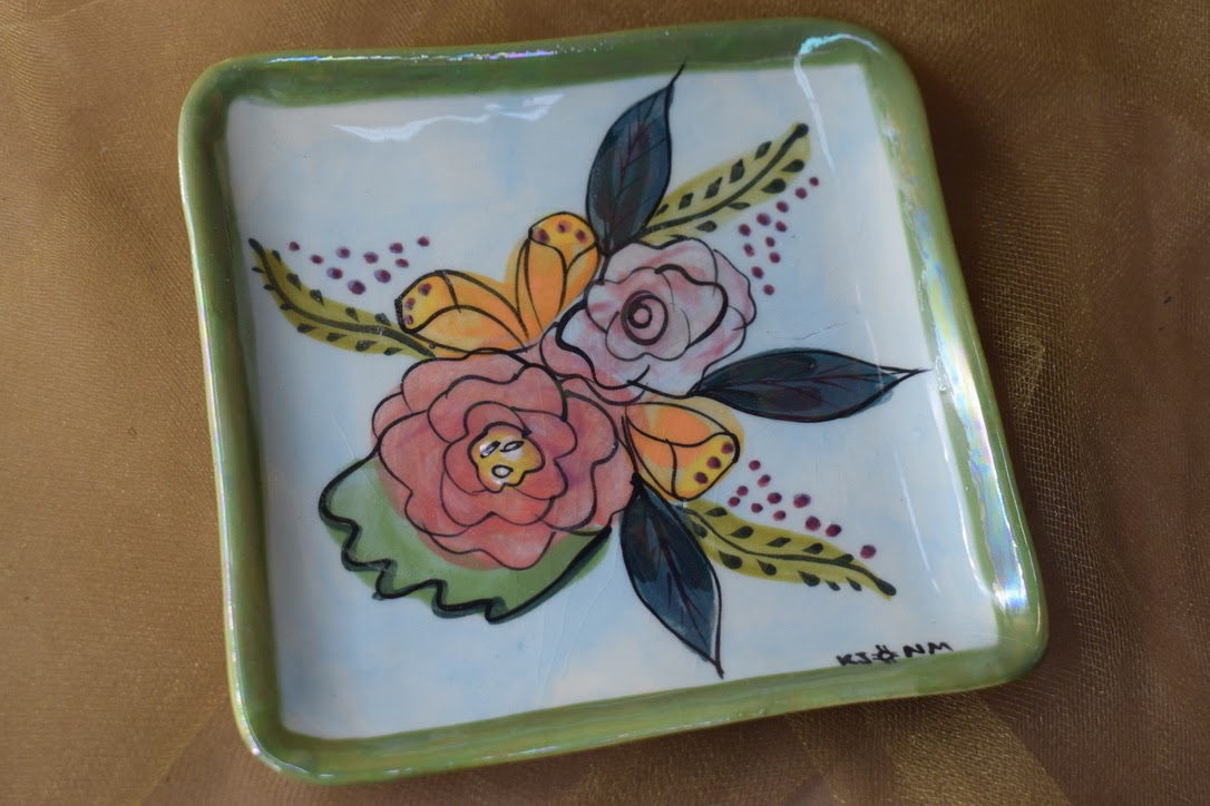 """(SP08-JF) 6"""" Square Plate- Jenna Floral"""