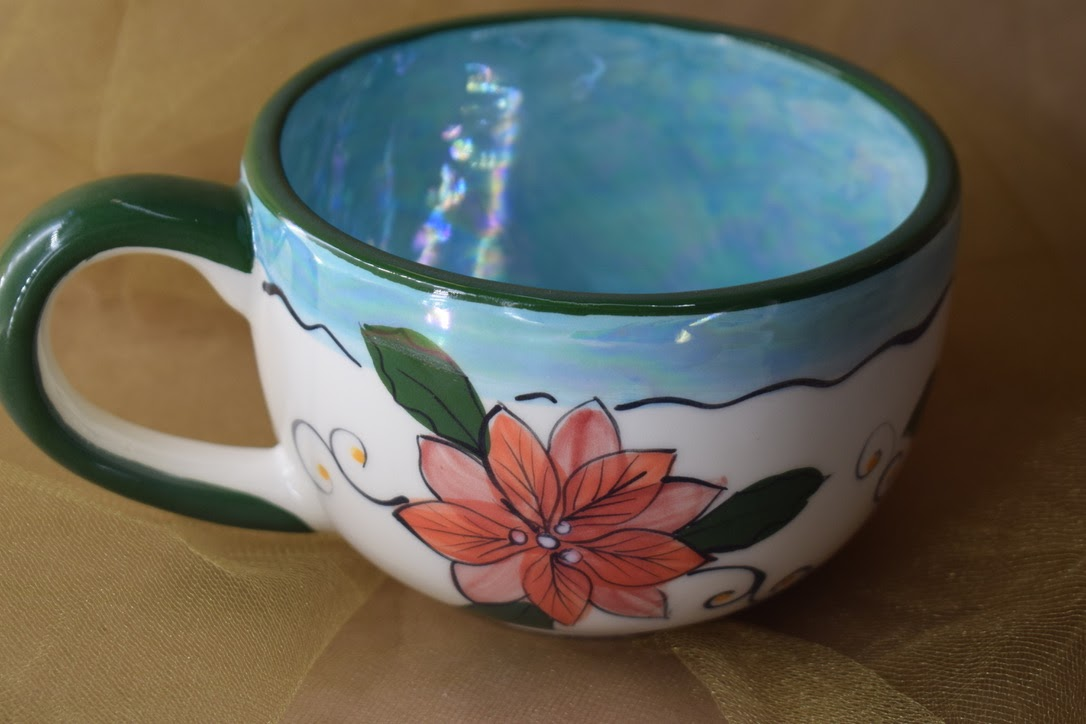 (LM16-PTC) 16oz. Latte Mug- Poinsettia