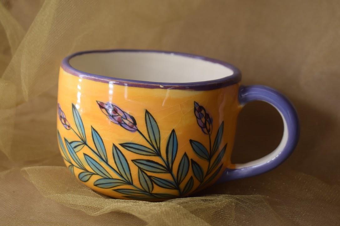(LM16-YLD) 16oz. Latte Mug- Yellow Lavender with Dragonfly
