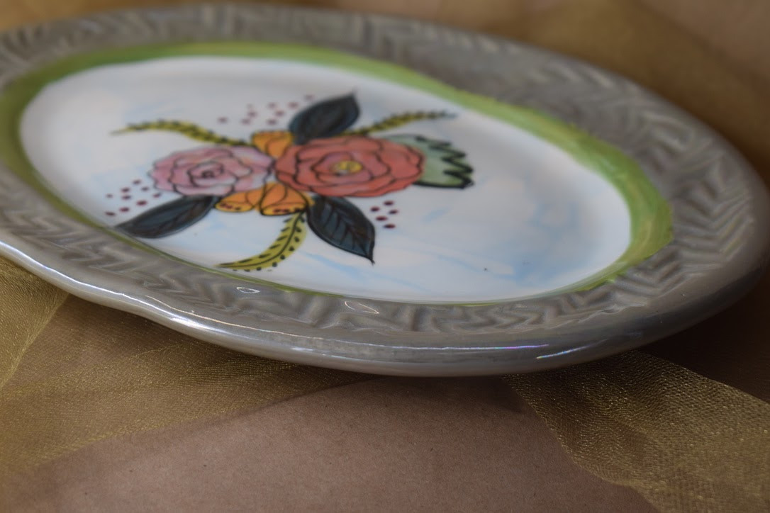 "(OP16-S-JF) 12""x8"" Oval Platter-Special-Jenna Floral"