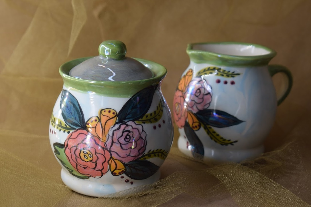 (SC30-JF) Cream and Sugar Set- Jenna Floral