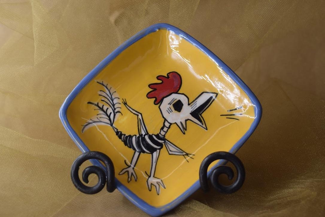 "(SP07-CALAVERAC) 5"" Square Plate- Calavera Chicken"