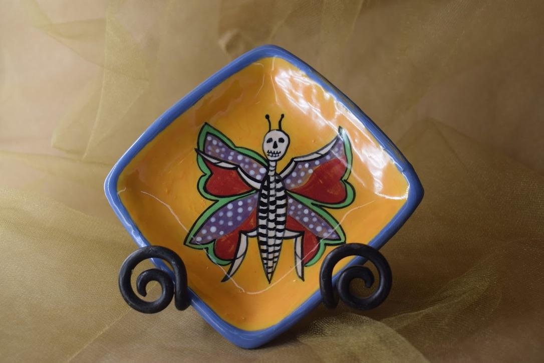 "(SP07-CALAVERAB) 5"" Square Plate- Calavera Butterfly"