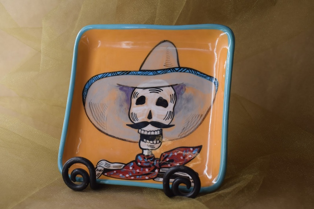 """(SP08-CALAVERAH) 6"""" Square Plate- Calavera Hombre"""
