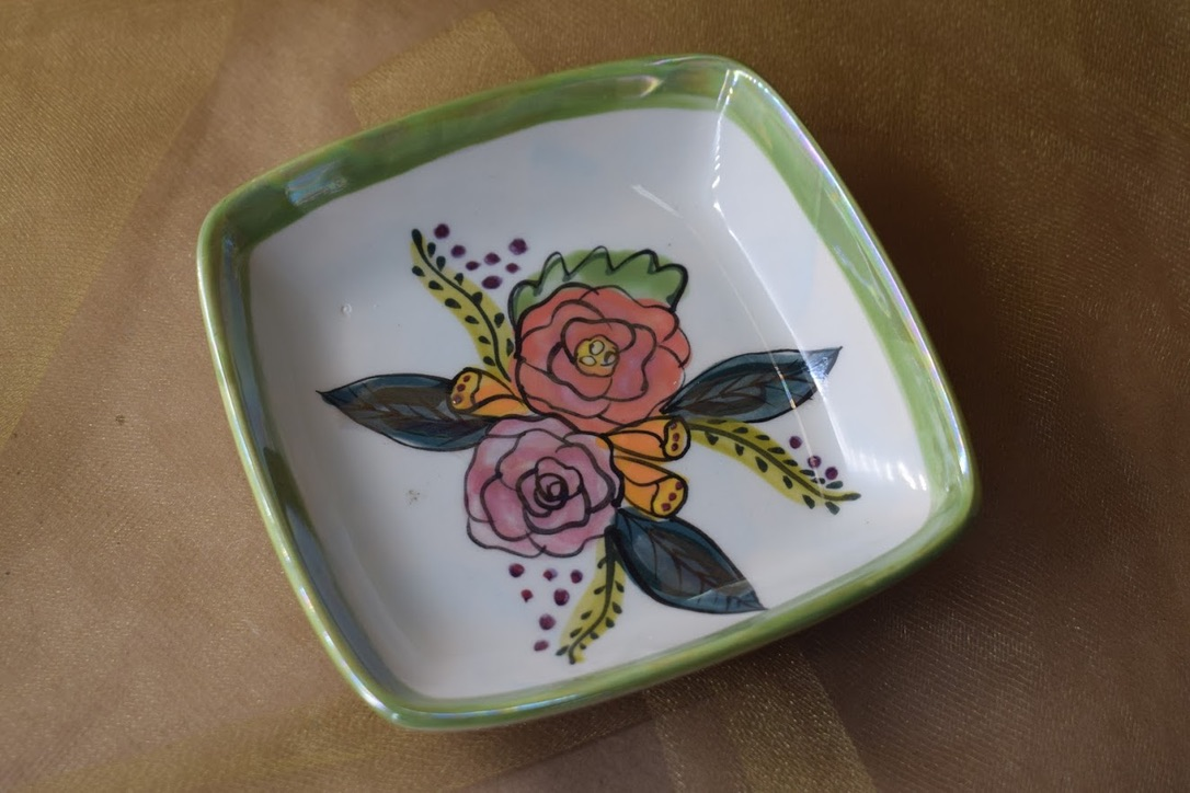 (SP07-JF) Square Plate- Jenna Floral