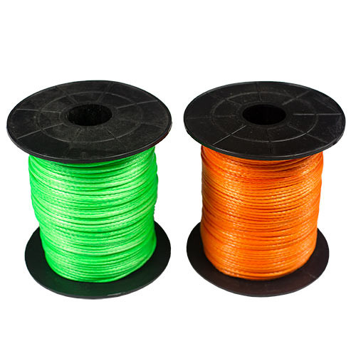 Our 2.0mm High Performance Dyneema Reel Line is as tough as can be and available in Hi-Vis Orange and Hi-Vis Green.