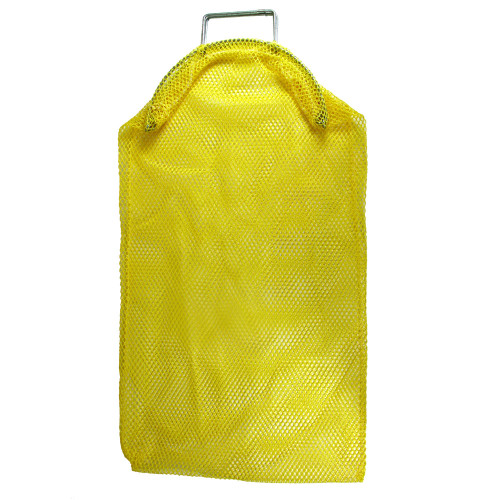 """This Mesh Collection Bag measures 17"""" wide by 28"""" long and has steel handles for added durability as well as steel wire closure and security latch to keep game in"""