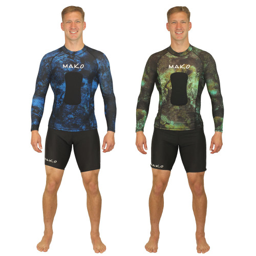 The MAKO Spearguns Lycra Spearfishing Rashguard with long sleeves is made of stretchy Lycra material and includes a chest loading pad