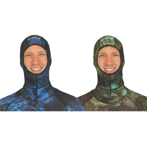 MAKO Spearguns Camo Lycra Hoods can be taken off so there is no additional drag when diving hoodless.