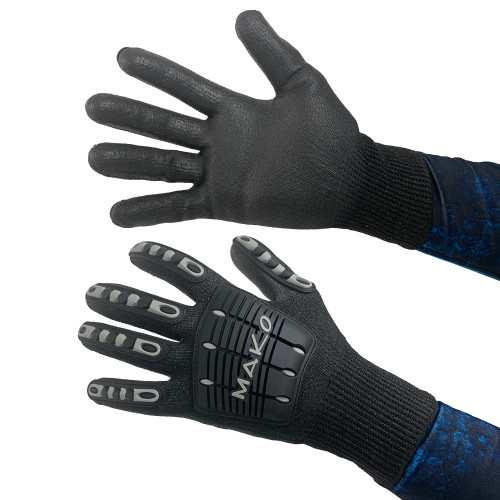 MAKO Spearfishing Gorilla Gloves for spearfishing and lobstering offer level 5 cut resistant protection and have backside impact resistant rubber padding on the back of the hand for added protection