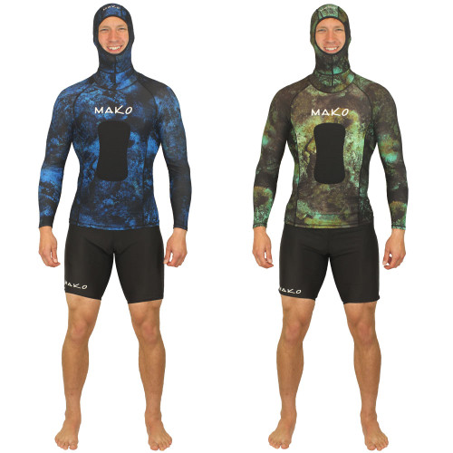 The Spearfishing Rash Guard and Removable Hood is perfect for warm water diving with the removable hood as an added feature.