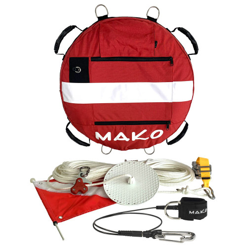 The MAKO Freedive Training /Competition Float Complete Package is a professional grade freedive training buoy, designed by and made for professional freedive instructors and freedive competitors.