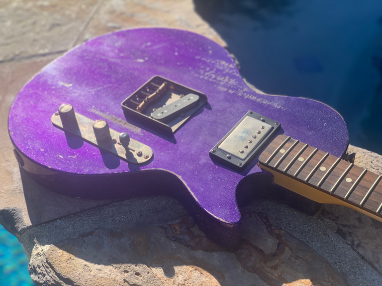 Real Life Relics Loaded LP Jr / T Hybrid Body Aged Grape Jelly Pearl Prism Flake Nitro Lacquer