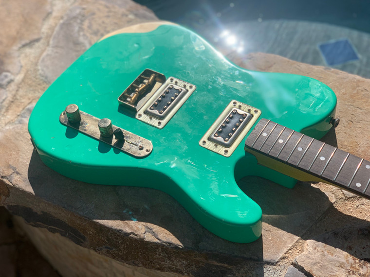 Real Life Relics Fully Loaded T Body Aged Seafoam Green With Dual Gretsch Filtertrons