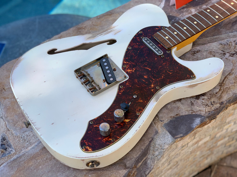 Real Life Relics Custom Shop Loaded 69 Thinline Telecaster Body Olympic White Nitro Lacquer TV Jones Pickups