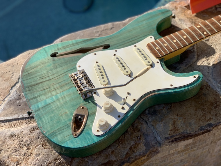 "Real Life Relics Custom Shop Loaded F Hole Stratocaster Strat Body ""Carribean Sea"" Nitro Lacquer"