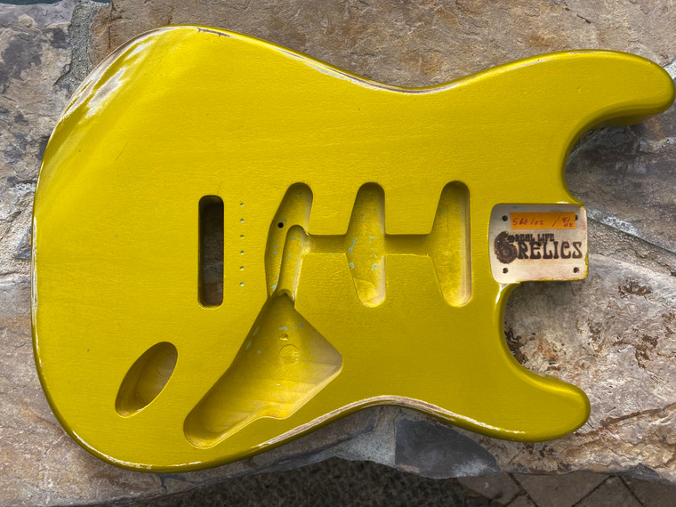 Real Life Relics Stratocaster Body Aged Lime Gold Nitro Lacquer Finish
