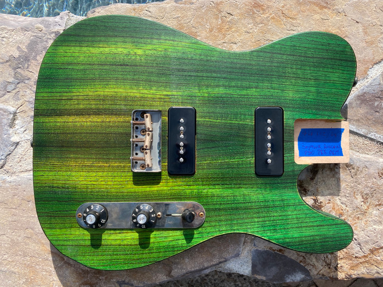 Real Life Relics Custom Loaded T  Body Zebrawood Top Green Fade Oil Finish P90's
