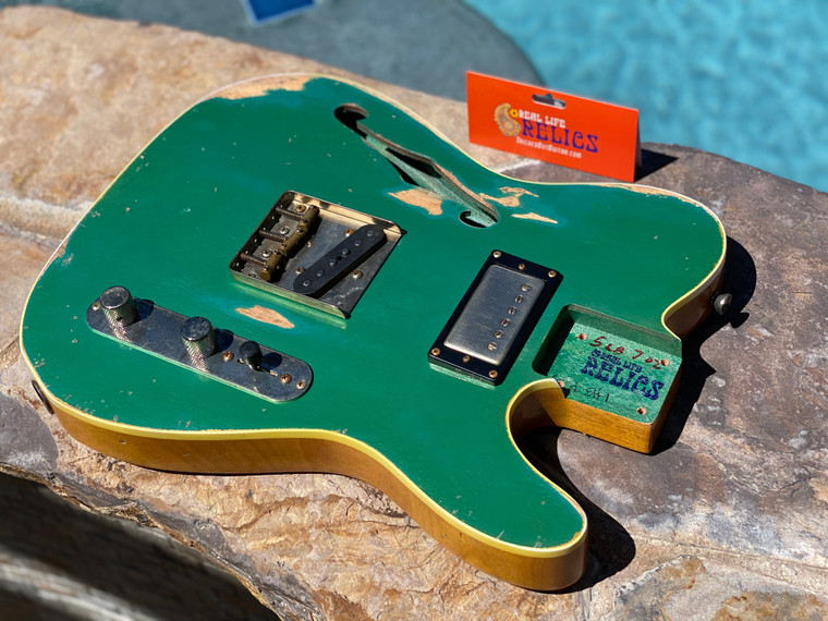 Real Life Relics Custom Class Loaded Bound F Hole T Tele® Body Sherwood Green Top Nitro Lacquer
