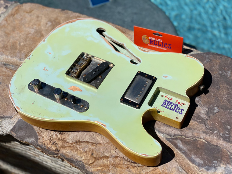 Real Life Relics Custom Class Loaded Bound F Hole T Tele® Body Sonic Blue Top Nitro Lacquer